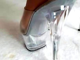 Wifes clear Heels and Nylonfeet from behind