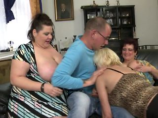 Hot party with 3 mature mothers and boy