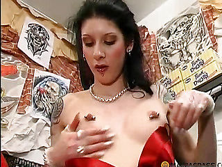 The girl with pierced nipples sucks dick