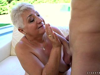 Blonde with gigantic hooters has great dick sucking experience and expands it with hard dicked fuck buddy