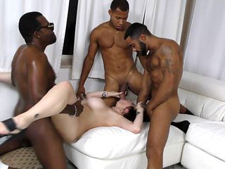 Horny big tits brunette mom gets gangbanged by huge black dicks