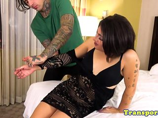 Glamorous transsexual fucked in ass