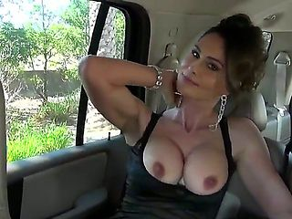 Sexy slender bodies milf lady pick uped on the street and shows off her sweet boobs in the car