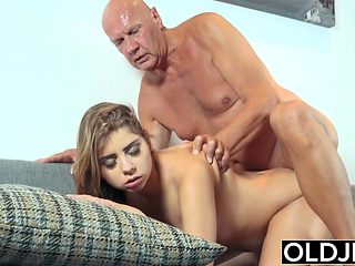 Pretty Young Girl Mouthful Of Cum And Anal Sex With Grandpa
