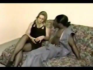 Oldie of a blonde slut with black lover