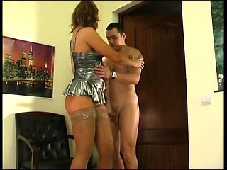 Guy fucks hot mature in short dress