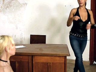 Lesbian Domination turning Blonde Teen into a Pussy Slave