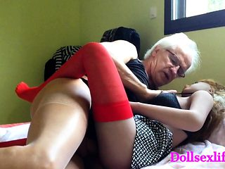 Old man and his wife making love