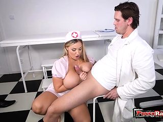 Big tits nurse titty fuck with cum on tits