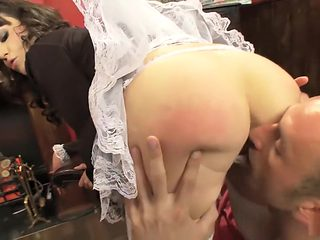 Kneading some maid ass