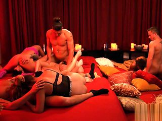 Nasty swingers swap partners and orgy in the red room