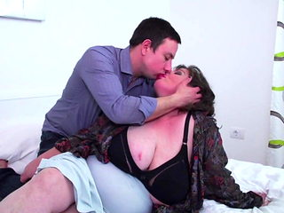 Really big BBW mother seduce lucky slim son