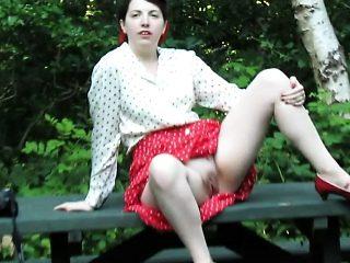 Busty amateur brunette teen Kira Queen railed in public