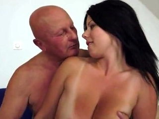 Claudia's big tits drives an old man crazy