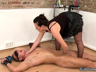 Lingerie domina pegging submissive slave