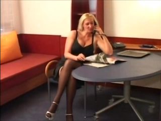 Voluptueus German blonde MILF in nylons fucked