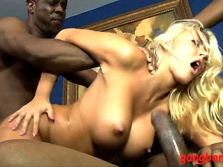 Huge tits woman anal fucked by black men