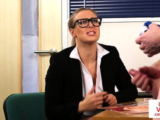 Spex office MILF humiliating naked client