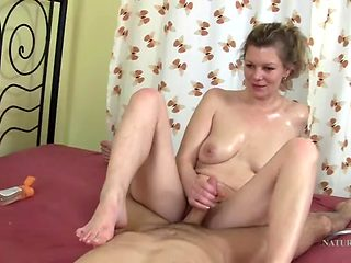 Naked milf massage includes a hot blowjob
