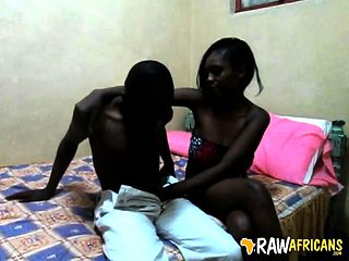 Real amateur African teen sucks boyfriend's cock on camera
