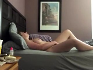 sexy white girl plays with herself behind her mans back