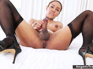 Big tits shemale Milk A masturbates her fat hard cock
