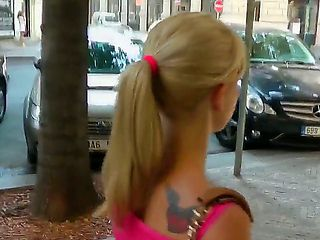 Skinny young blonde Bella Baby was walking down the street. Babe has attracted our attention with...