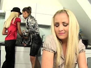 Surprised peach in lingerie is geeting urinated on and naile