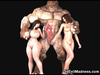3D Ogres and Monsters Destroy Babes!