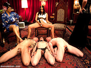 Maitresse Madeline Marlowe & Isis Love & Dia Zerva & DragonLily & Kade in Divine High Tea Party L...