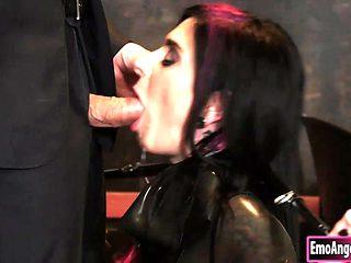 Latex Wearing Secretary Joanna Angel Earns Anal Pleasure