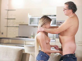 VIP4K. Daddy gives portion of cum to adorable lassie after