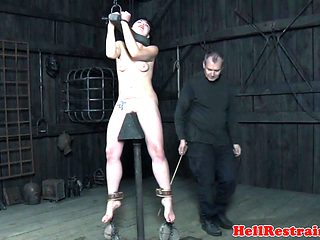 Punished tattooed submissive gets tormented