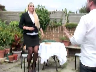 Blonde Cougar Gets Fucked Outdoor