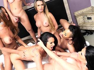 Five Horny Shemales Gangbang Girl