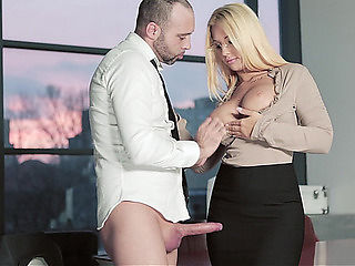 Large titted office Mother I'd Like To Fuck menacing-threatening HD Porn