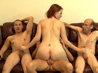 Redhead vixen lets man cover her nice face in sperm