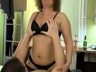 Mature In Lingerie And Stockings Rides Cock
