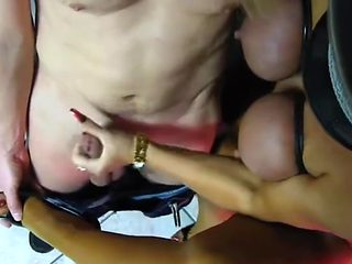 Sexy Sonia getting load on nylons
