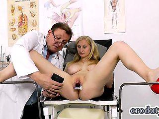 Natural tits doctor gaping and cumshot