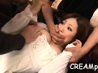 Gagged lovely chick gets creamed