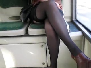 Flashing black stockings and panties