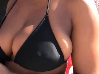 Sexy ladies in bikini exposed nice boobs for some money