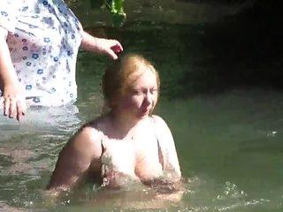 Grannies in See Through Clothes Bathing in Public - Voyeur