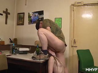 Army man pounds a wet young pussy hardcore