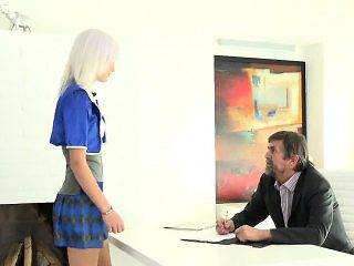 Elegant college girl was seduced and drilled by her older in