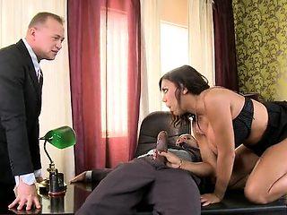 Hot secretary dp with cumshot