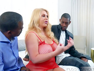 Karen Fisher Gets Two Big Black Cocks Inside Her