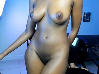 Ebony beauty with huge tit fucks her perfect pussy and opens her asshole