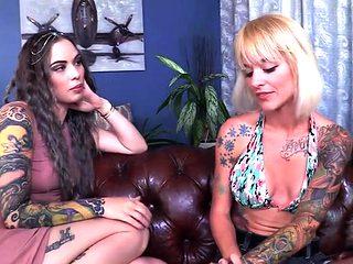 Tattoos pornstar femdom with cumshot